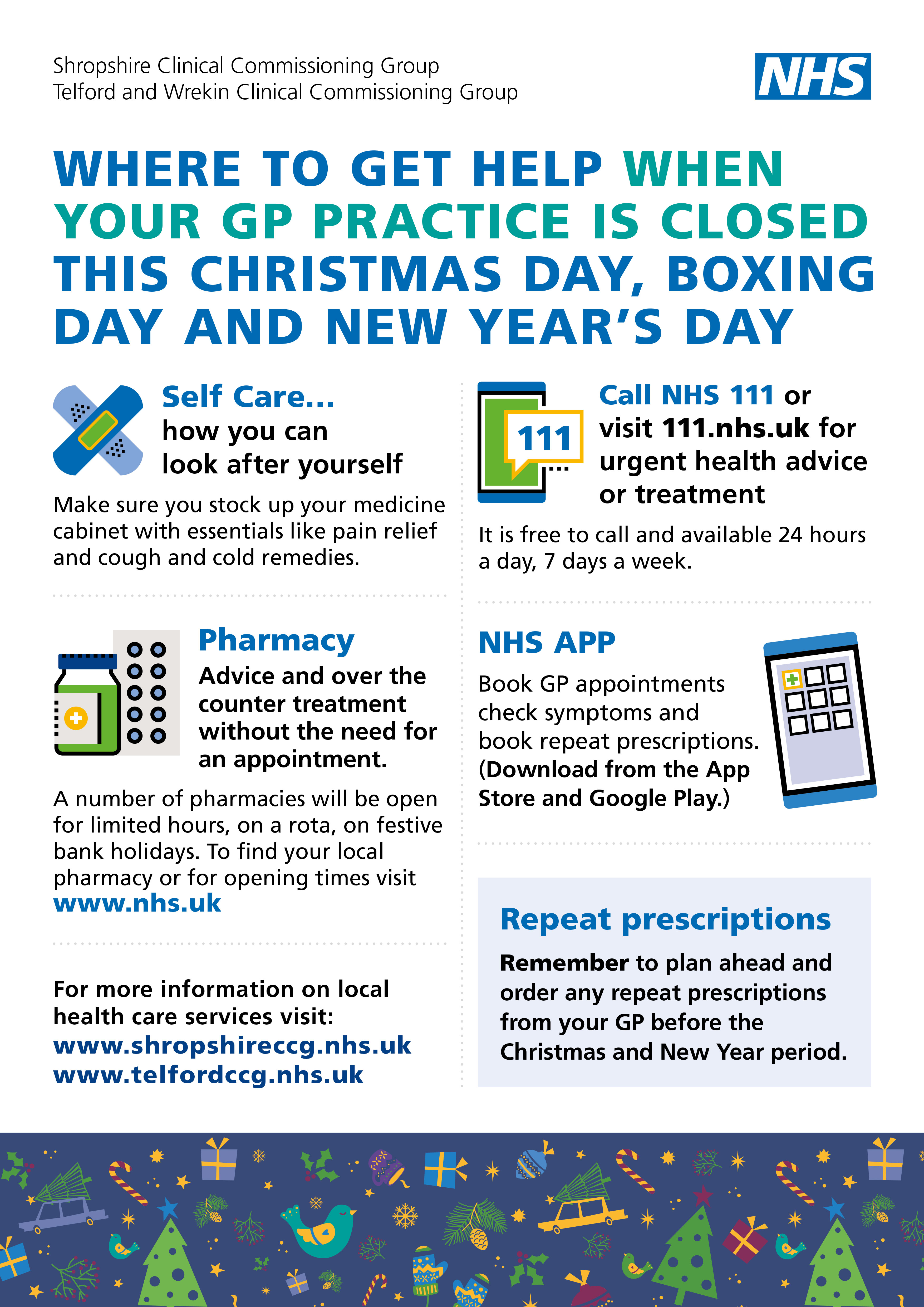 Medical help and advice over Christmas and New Year